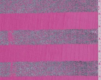 Raspberry Pink Stripe Crinkle Chiffon, Fabric By The Yard