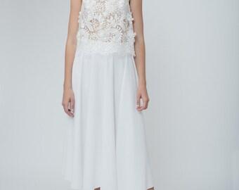 Unique wedding skirt, White wedding skirt, Flowy wedding skirt, Midi wedding skirt, Two piece wedding dress, Tommie Wedding Skirt