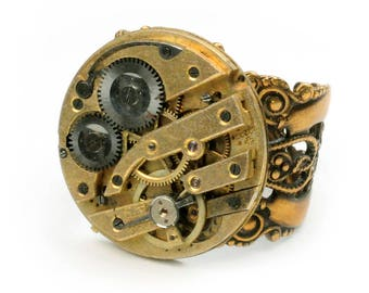 Steampunk Antique Gold Watch Movement Adjustable Ring