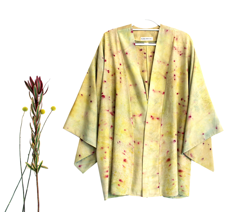 MID LENGTH SILK kimono chartreuse yellow green silk robe