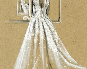Bride gown drawing | Etsy