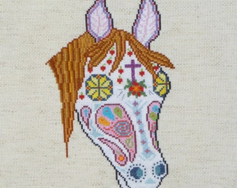 Horse Sugar Skull Day of the Dead Cross Stitch Pattern