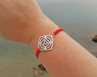 ROOT CHAKRA bracelet in Tibetan silver and macrame cord. First Chakra Bracelet. Handmade. Choose your color!