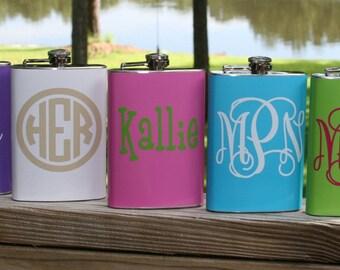 Monogrammed Color Hip Flask and Funnel Set