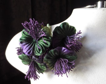 SALE Purple & Green Millinery Flower Velvet Yoyos for Boutonnieres, Hats, Bridal, Costumes MF 98