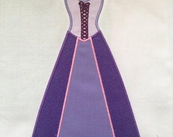 Disney Princess Rapunzel Dress MACHINE Applique Pattern - Inspired by Disney's Tangled