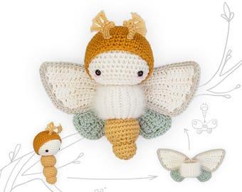 crochet pattern lalylala butterfly GOLDEN DAYDREAM MOTH •  amigurumi caterpillar plus interchangeable wing set