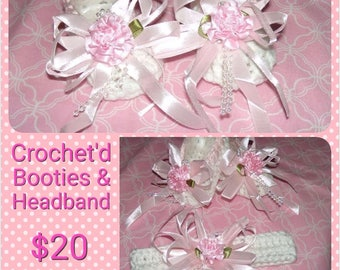 Hand Crocheted, Baby Set, Crocheted Headband and Booties with Silk Bow and BeadTrimming, Beautiful for New Baby Photos or Coming Home