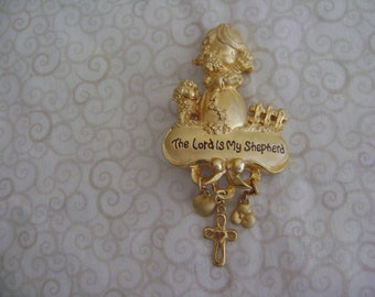 """Vintage Precious Moments """"The Lord Is My Shepherd Brooch"""""""