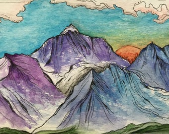 Original Watercolor | Landscape watercolor | Landscape nature | art | Imagined | Mountains