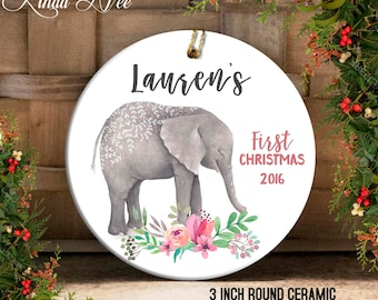 Baby's First Christmas Ornament, Personalized Baby Ornament, Baby Shower Gift, Gift for Baby Girl Boy, Christmas Elephant Ornament OCH55