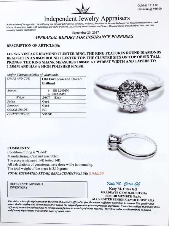 Vintage Diamond Ring 14k White Gold 30 CT Brilliant & Old