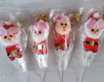 Vintage Santa Claus and Mrs. Claus Mice Felt floral/craft picks set of 4