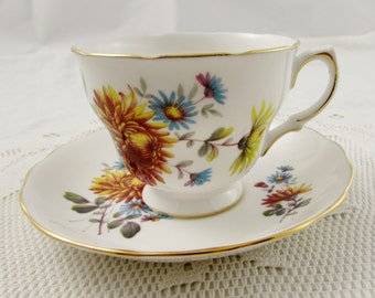 Vintage Queen Anne Tea Cup and Saucer with Flowers, English Bone China