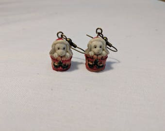 Adorable Puppies with Christmas Hats in Buckets Pierced Earrings