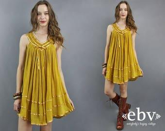 Mustard Dress Gauze Dress Hippie Dress Festival Dress Hippy Dress Boho Dress Bohemian Dress 1970s Dress 70s Dress Crochet Dress Summer Dress