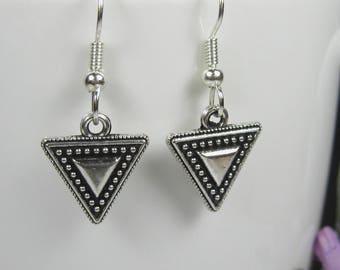 Small dangle earrings, surgical steel, nickel free earrings, triangle drop earrings, simple silver earrings, modern minimalist earrings