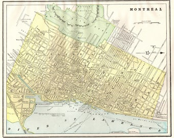 Vintage montreal map | Etsy