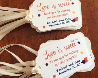 Love is Sweet Fall Themed Favor Tags,Fall Treat Favor Tags,Fall Wedding Favor Tags,Treat Favor Tags