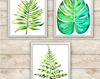 Tropical Botanical Watercolor Prints/Farmhouse Prints/ Set of 3