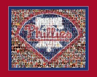 Philadelphia Phillies Mosaic Art designed using 150 Past & Present Player Photos.