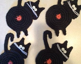 Peeking cat butt coasters set of 4