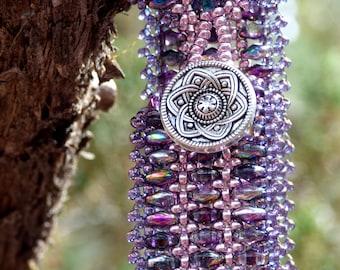 Purple Beadwoven Bracelet Cuff