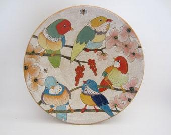 Handpainted 'Flowers, Birds & Berries' Stoneware Large Serving Bowl
