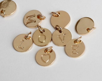 10mm initial Charm, Golden Letter charms, Initial Round Disc, Can Add to necklace or Bracelet, Personalized Initial Charm