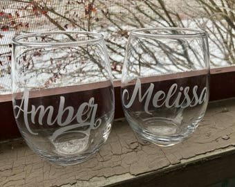 Custom wine glass, Personalized stemless wine glass, Bridesmaid gifts, Bachelorette Party, Birthday wine glasses, custom wine glasses, Bride