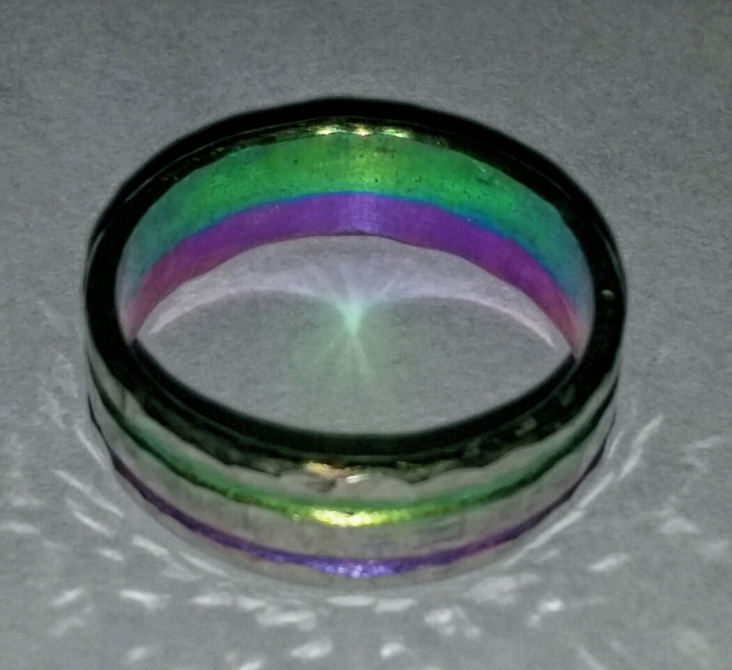 Anodized Niobium Ring Band Purple and green engraved grooves