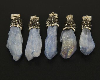 1-10pcs Bulk Crystal Stick Pointed Pendants Supplies,Natural Stone Violet Titanium Quartz Rhinestone Tusk Spike Necklace Making Nugget Beads