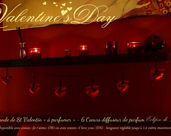 "Romantic decor ❤ Garland of 6 hearts ""I love you"" perfume - original Valentine's day"