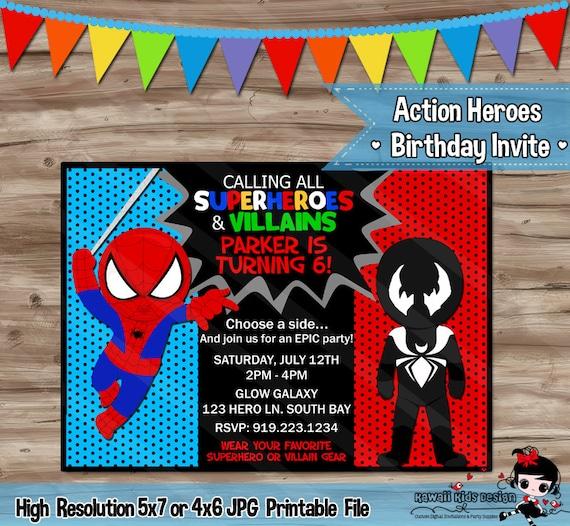 Spider man and venom birthday invitation invite superhero solutioingenieria Gallery