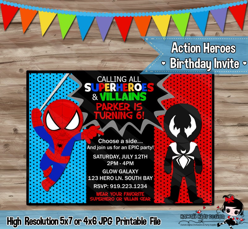 Spider Man and Venom Birthday Invitation Invite Superhero