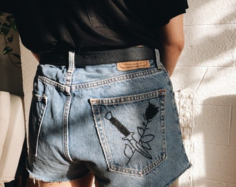 Upcycled Levi's Cutoffs With Handembroidered Design