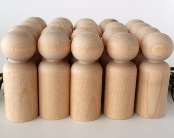 Wooden Peg Dolls / 20 Boys / Peg People / Waldorf / Unfinished Maple Ready to Paint / Twenty Boys