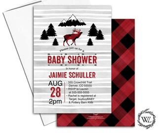 rustic baby shower invitation boy, elk, deer baby shower invitations, buffalo plaid baby shower invite, red, black, gray - WLP00783