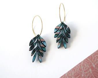 Palm Print Hoop Earrings - Tropical Earrings - Plant Earrings - Botanical Jewellery - Tropical Foliage - Tropical Leaf Jewellery