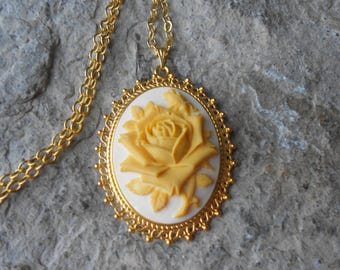 Choose on Tan or Black - Yellow Rose Cameo Gold Plated Pendant Necklace - Unique - Texas - Rose Lover Gift - Rose Collector