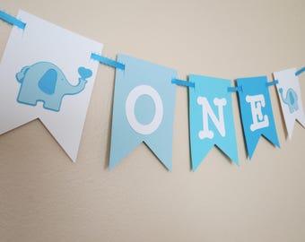 Elephant ONE High Chair Banner - Birthday Banner - 1st Birthday - ONE Banner