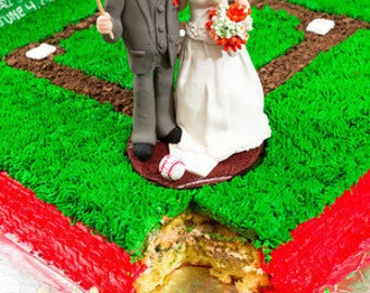 Baseball Themed Wedding Cake Topper, Custom wedding cake topper, Bride and groom cake topper, personalized cake topper, Mr and Mrs topper