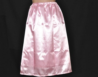"SLIP 4X - Long 36"" length Double layered silky satin slip / petticoat, sissy baby pink, Sissy Lingerie"