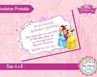 Disney Princess Birthday Party Invitation - Printable