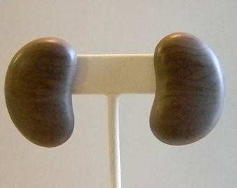 Large Wooden Kidney Shaped Pierced Earrings
