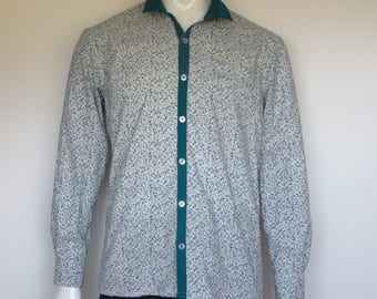 liberty shirt with contrasting collar and band