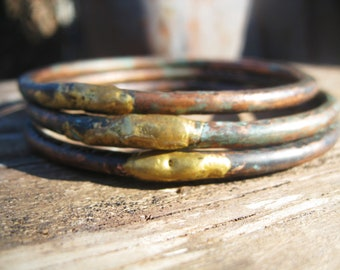 Traveler - Copper Bangles 6 Gauge Rough Elegant Hammered Oxidized Brass Jane Plain Organic Roots Talisman Jewelry