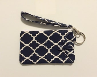 Hand Made Wristlet With ID/ IPhone 6s & 7 Cell Phone Wallet In Navy Moroccan Print