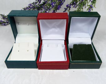 Vintage / Preloved 3 Red and Green Jewellery Earring Leatherette Style Boxes for Display Collection Gift