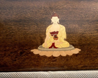 Puja/meditation table with inlay of the Budha